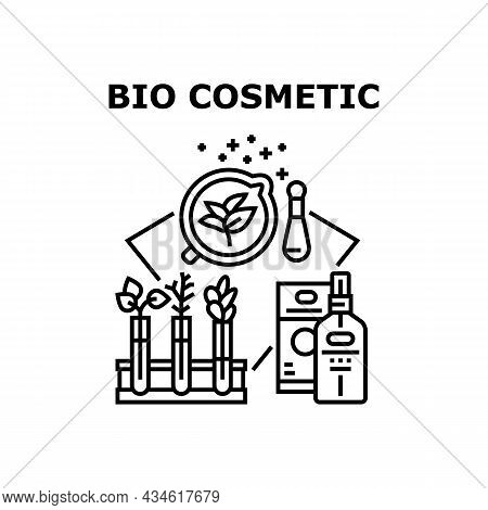 Bio Cosmetic Vector Icon Concept. Bio Cosmetic Bottle And Package. Laboratory Medical Herbs And Plan