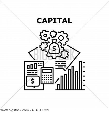 Finance Capital Vector Icon Concept. Finance Capital Planning And Working Process For Earning Money,