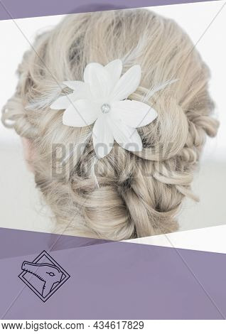 Composition of caucasian woman with white flower in hair on white background. fashion, beauty and template concept digitally generated image.