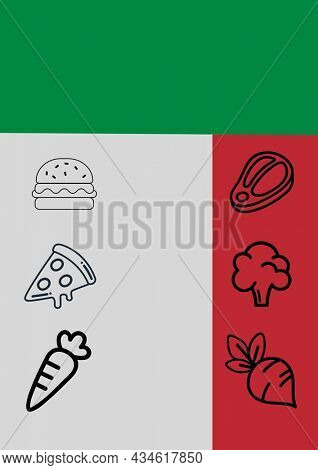 Composition of fast food and vegetables icons on colourful background. food menu and template concept digitally generated image.