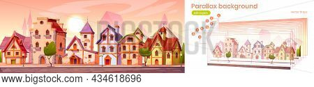 Parallax Game Background Medieval Town Street With Old European Buildings. Cartoon 2d Cityscape Sepa