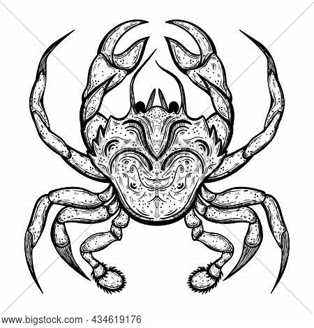 Crab Vector Icon. Hand-drawn Illustration. Seafood Sketch. A Marine Animal In A Shell With Claws. Bl