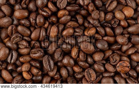 Fresh Roasted Coffee Beans Texture. Texture Of Roasted Coffee Beans. Freshly Roasted Coffee Beans Ba