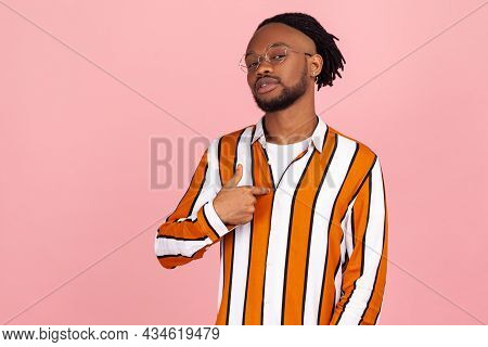 Proud Self Confident African Man With Dreadlocks In Stylish Shirt Egoistically Pointing Finger On Hi