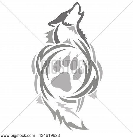 The Silhouette Of A Wolf With A Paw Inside It Is Drawn With Various Lines. Design For Tattoo, Howlin