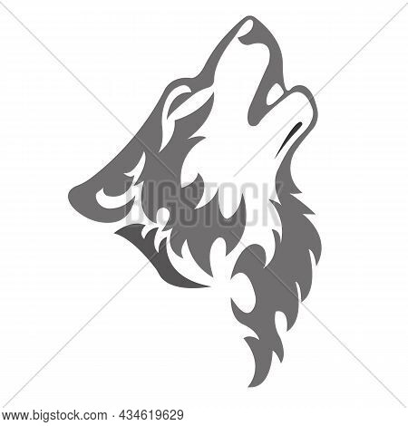 Silhouette Of A Howling Wolf's Muzzle,painted In Gray,is Drawn With Curved Lines.design For Tattoo,