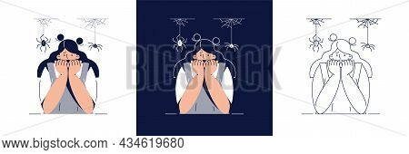 Fear Of Spiders Vector Illustration Set. Frightened Woman Character Suffers From Spider Phobia, Cove