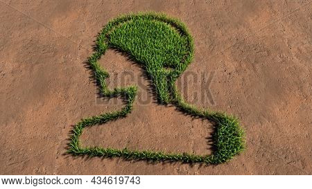 Concept conceptual green summer lawn grass symbol shape on brown soil or earth background, human brain image.  A 3d illustration metaphor for science, intelligence, anatomy, neurology, brainstorming