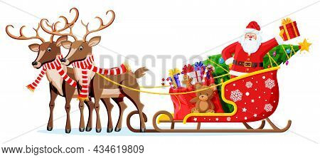 Christmas Santa Claus On Sleigh Full Of Gifts Tree And His Reindeer. Happy New Year Decoration. Merr
