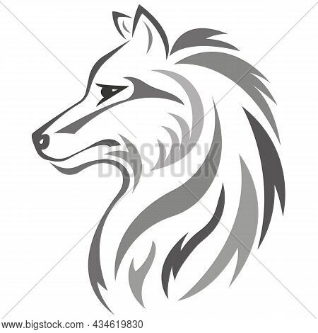 Silhouette, Contour Of The Wolf's Muzzle In Gray Is Drawn Using Various Lines. Design Is Suitable Fo