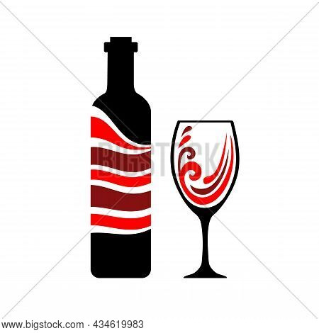 Pour The Wine Into A Glass. Time To Wine. Bottle And Glass Red Wine Graphics Style.