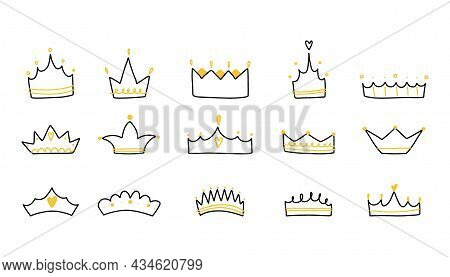 Crown Set. Hand Drawn King And Queen, Prince And Princess Head Accessory, Line Drawing Logo, Emblem
