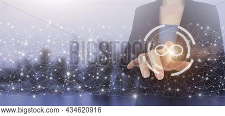 Infinite Concept. Business Confusion Concept. Hand Touch Digital Screen Hologram Infinity Sign On Ci