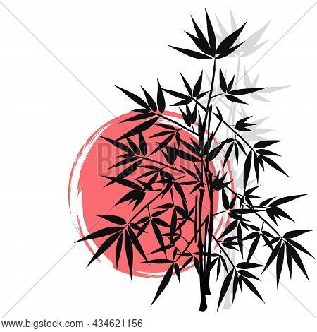 Bamboo Tree Vector Picture. Bamboo Forests Of Asia. Hand Drawn Vector Illustration