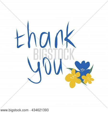 Thank You Lettering And Flowers Hand Drawn Doodle. Vector, Minimalism, Card Template.