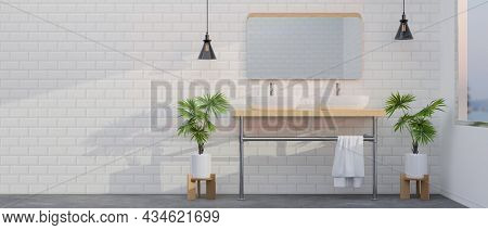 Modern White Tiles Bathroom Interior With Double Modern Washbasin And Mirror