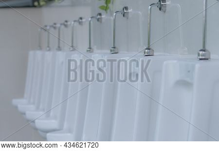 White Urinals In Men Public Toilet. Ceramic Urinals In A Row In Men Restroom. Man Bladder Health Wit