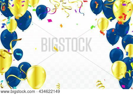 Festive Card With Flying Balloons On A Bright Background, Vector Party, Celebration For Anniversary