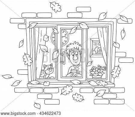 Sad Boy And His Funny Cat Looking Out Of A Window With Flying Autumn Leaves, Black And White Outline