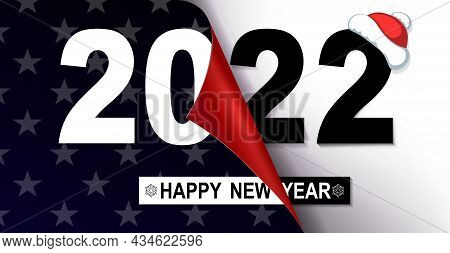 Happy New Year 2022, Christmas Composition With Stars, Folded Sheet Of Black And White Shade.