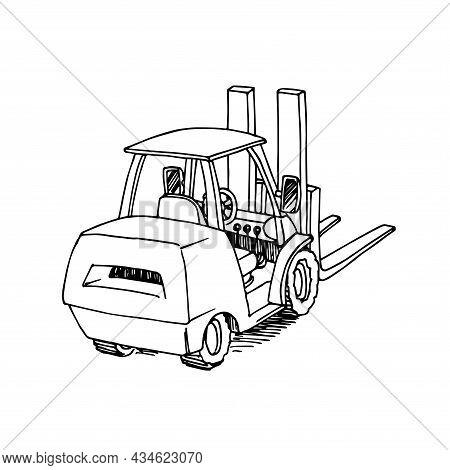 Port Forklift Truck, Warehousing And Logistics, Cargo Transportation, Vector Illustration With Black