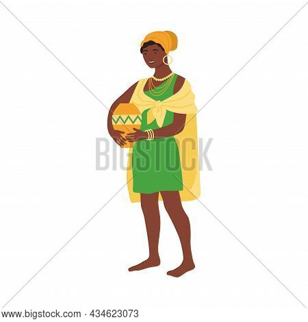 Beautiful African Woman In Traditional Bright National Clothes Holding Clay Jug Cartoon Vector Illus