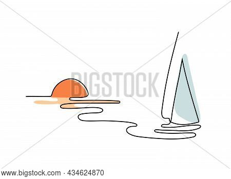 One Line Drawing Of A Yacht. Red Sunset And A Ship Panoramic View. Vector Marine Landscape Wallpaper