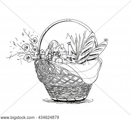 Picnic Basket With Snack. Hand Drawn Illustration Without Color . Summer Picnic. Graphic Style Vecto