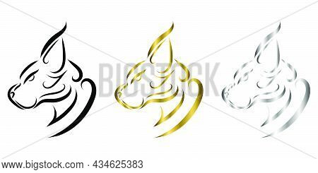 Three Color Black Gold And Silver  Line Art Of Wildcat Head. Good Use For Symbol, Mascot, Icon, Avat