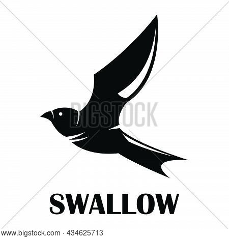 Black Silhouette Vector Illustration On A White Background Of A Flying Swallow.