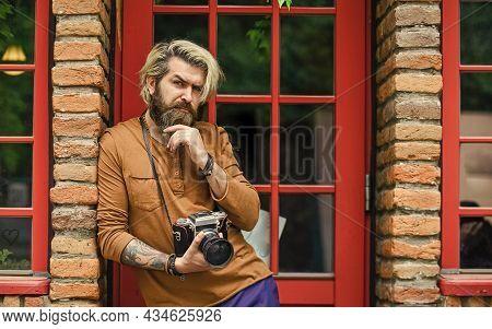 Brutal Paparazzi Use Digital Camera. Photo Shoot Session. Handheld Shooting. Man Photographer Do Sho