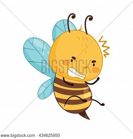 Adorable Buzzing Honey Bee Cartoon Character Vector Illustration