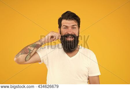 Hip And Stylish. Male Facial Care. Portrait Of Brutal Bearded Man. Thinking Stylish Man Smiling. Hap