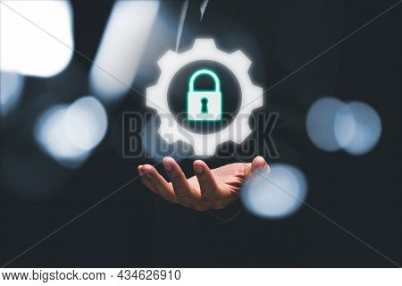 Businessman Hand Holding Digital Padlock Security Interface To Protect Data, Internet Network Securi