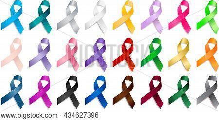 Set Of Realistic Different Color Ribbon Awareness Ribbons. Elements For Design. Vector Ribbon Variou