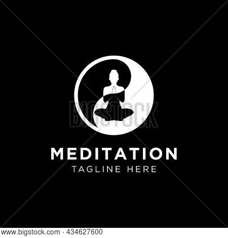 Abstract Vector Illustration Of Yoga And Meditation Logo Emblem.abstract Vector Illustration Of Yoga