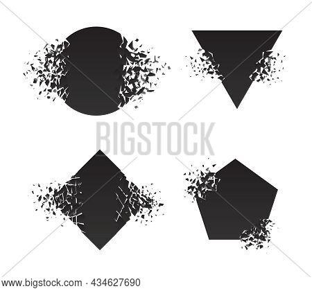Shape Explosion Broken Shattered Flat Style Design Vector Illustration Set Isolated On White Backgro