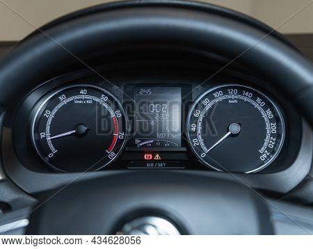 Novosibirsk, Russia - September  12, 2021:   Skoda Rapid, Sign And Symbol On Car Dashboard. Car Spee
