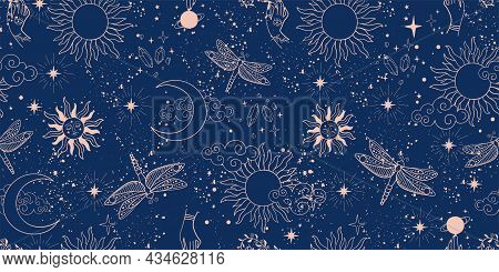 Seamless Space Pattern On A Blue Background. Boho Illustration With Moon, Sun, Dragonflies, Stars, W