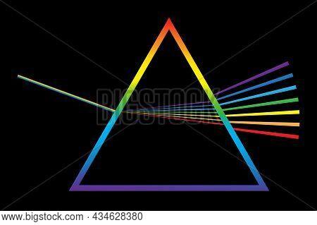 Physics Phenomenon Sign. Light Effect. Triangular Dispersive Optical Prism Icon. Vector Illustration