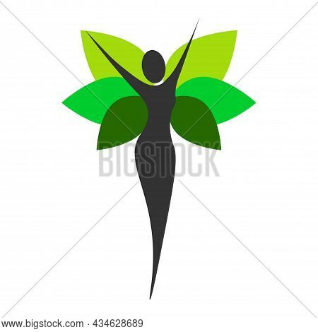 Wellness Logo Template. Yoga Logo Stock. Balance Meditation In Green Leaves Vector Illustration. Nat