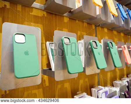 Paris, France - Sep 24, 2021: Green Silicone Protection Cases Of Iphone 13 Pro Magsafe At The Apple