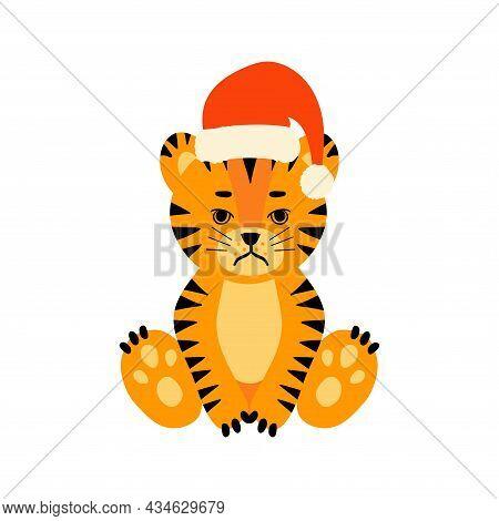 Tiger Sitting Santa Hat Set Dd Ww