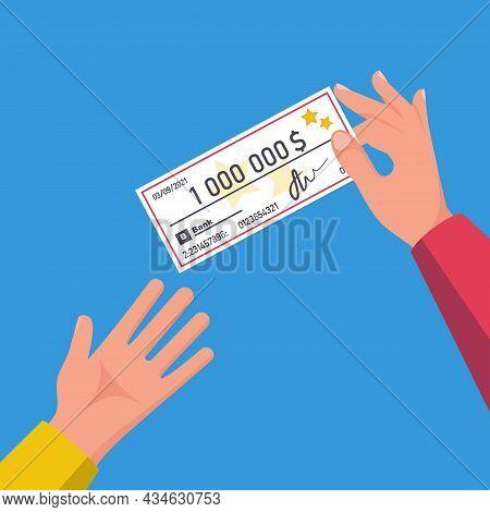 Businessman Transfers A Check. Businessman Hand Giving Bank Check. Vector Illustration Flat Design.