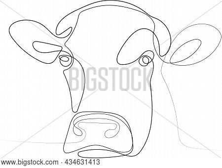 Portrait Of Domestic Beautiful Cow Standing In Stall At Farm. Vector Illustration