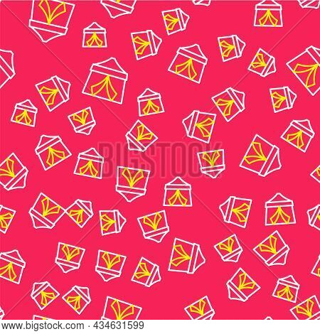 Line Circus Tent Icon Isolated Seamless Pattern On Red Background. Carnival Camping Tent. Amusement