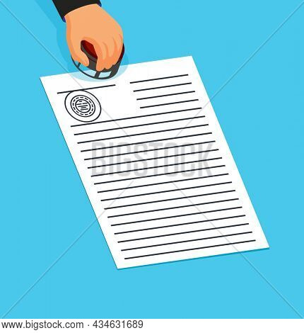 Notary service advertisement. Legal document with hand witnessing legal documents by seal or stamp. Color  illustration in flat style