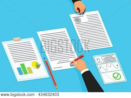 Notary service advertisement. Execution of documents seal and signature on papers. Sign agreement accepted by public notary. Document collcection. Colorful  illustration in flat style