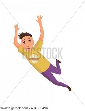 Falling man. Falling down people accident. Young men dangerous accident. Danger, risk. Bad luck, misfortune, fiasco. Business failure, company crash concept