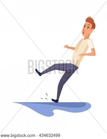 Falling man. Falling down people because of slipping, accident. Young men dangerous accident. Slippery, danger, risk. Bad luck, misfortune, fiasco. Business failure, company crash concept